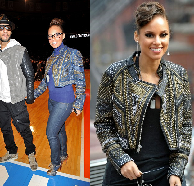 Singer Alicia Keys is also a fan of Catherine Malandrino. She is shown below wearing a cropped leather jacket in two different colors, the black one for