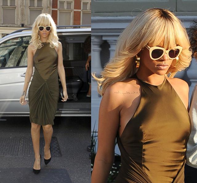 c003a69b0e908 Celeb Style  Rihanna Working With Retro Cat-Eye Sunglasses in London ...