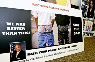 "New York State Senator Eric Adams shows off the smaller version of what will be the billboard that are getting put up in his district of the ""Stop the Sagging"" campaign.   Original Filename: KDR_STOPTHESAG01.jpg"