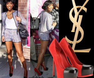 Celeb Style: Brandy Puts Her Game Face On in YSL Tribtoo and Tweed