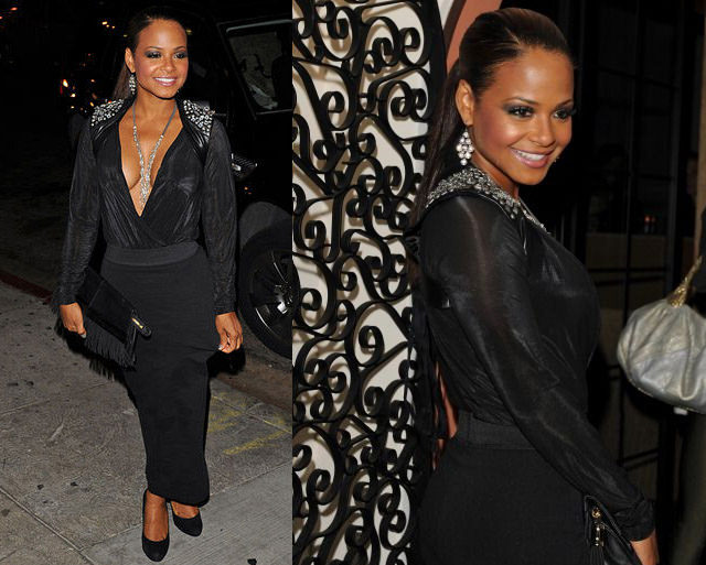 celeb-style-christina-milian-rocks-a-low-cut-dress-and-crystal-epaulettes