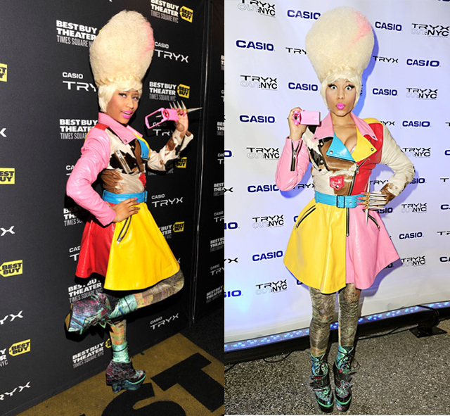 celeb-style-nicki-minaj-gets-colorful-in-jeremy-scott-for-tryx-casio