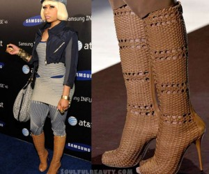 Nicki Minaj in Gucci Basket Weave Boots for AT&T 4G Launch