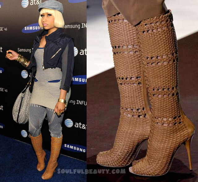 celeb-style-nicki-minaj-in-gucci-basket-weave-boots-for-att-4g-launch